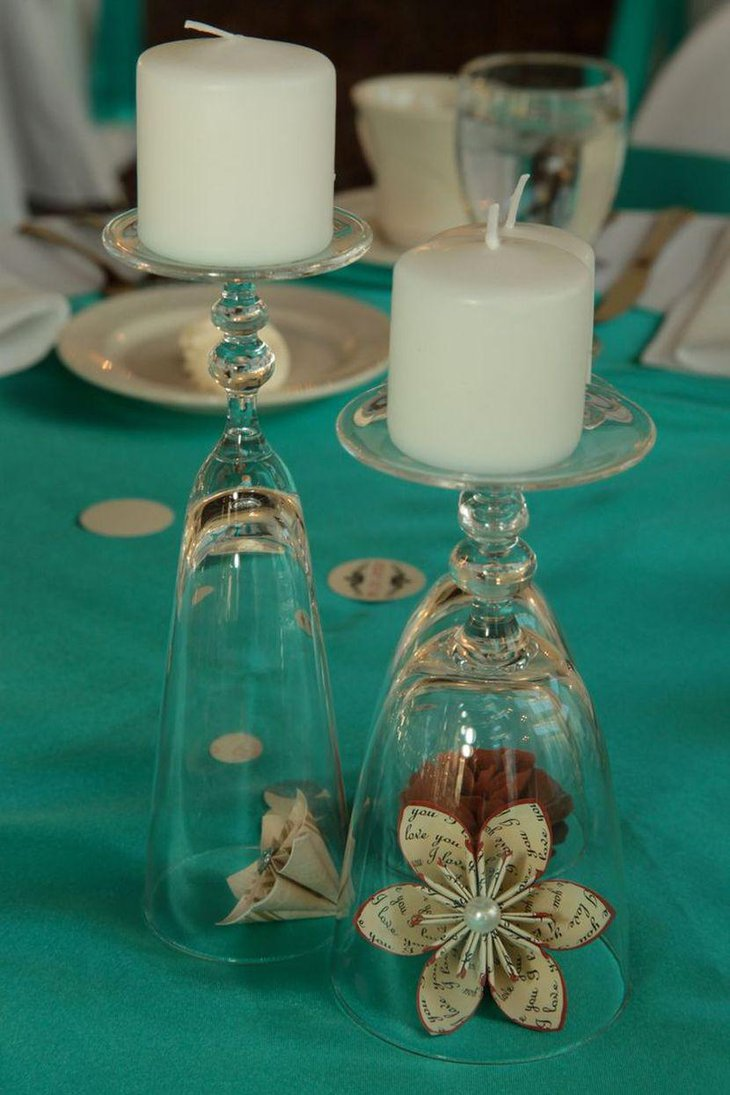 DIY Upside Down Wine Glasses Wedding Table Centerpieces With Candles And Flowers