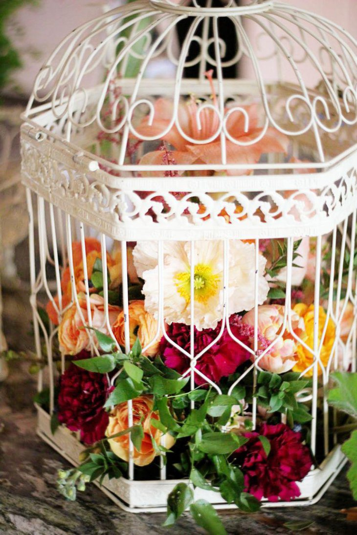 Gorgeous Birdcage Centerpiece With Tulips And Carnations