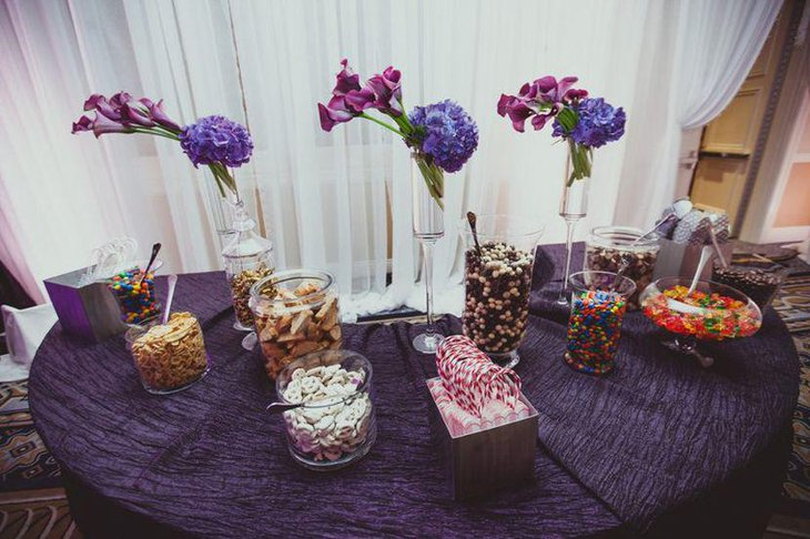 Gorgeous Wedding Candy Table Decor With Purple Tones
