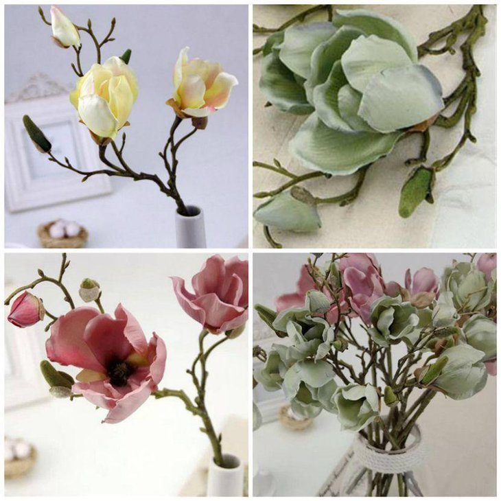 Spring Table Decor With Artificial Magnolias