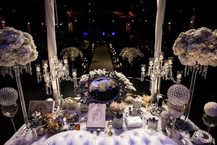 Tall Crystal Candelabra Wedding Table Centerpiece